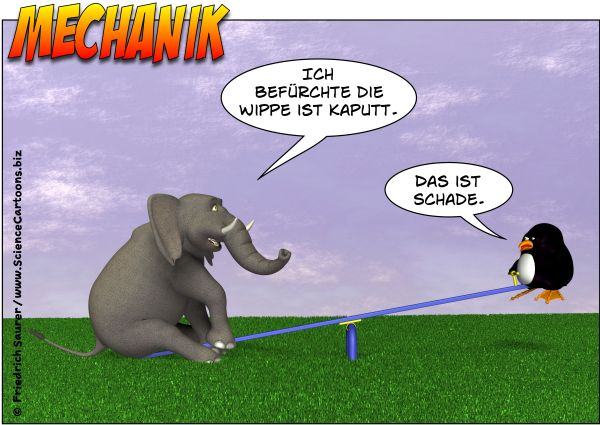 Wippe Hebelgesetz Physik Cartoon
